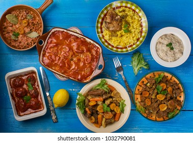 South African cuisine , Traditional assorted dishes, Top view.