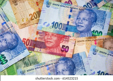 South African currency, bank notes on flat surface