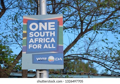 South African election poster for the May 2019 election for the Democratic Alliance, in Prince Albert - South Africa - February 24, 2019