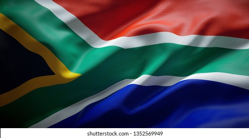 South African flag. South Africa.