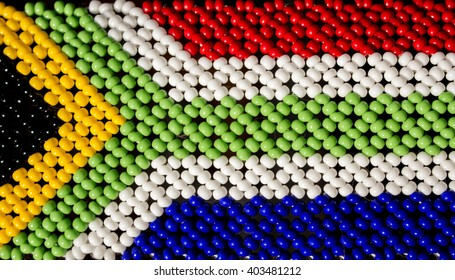 South African flag made from beads. Traditional tribal Zulu art.