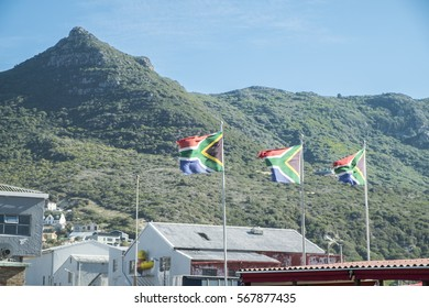 South African flag with mountain behind