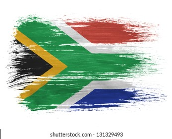 South African flag on white background