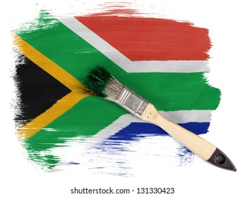 South African flag painted with brush over it