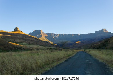 South African landmark, Amphitheatre from Royal Natal National Park. Drakensberg mountains  landscape. Top peaks