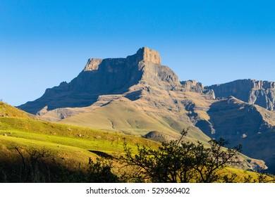 South African landmark, Amphitheatre from Royal Natal National Park. Drakensberg mountains  landscape. Top peaks