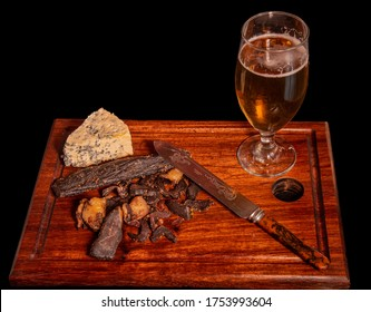 South African meal biltong,  beer and blue cheese