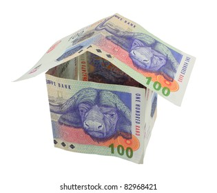 South African money notes in the shape of a house