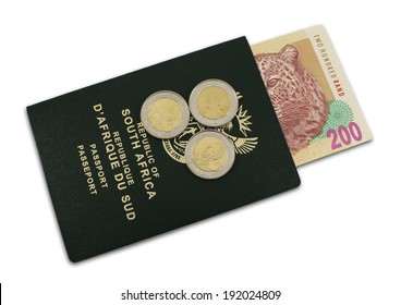 A South African passport with South African money