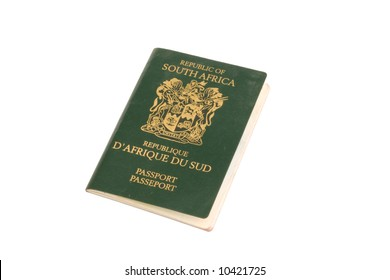 A South African passport on a white background