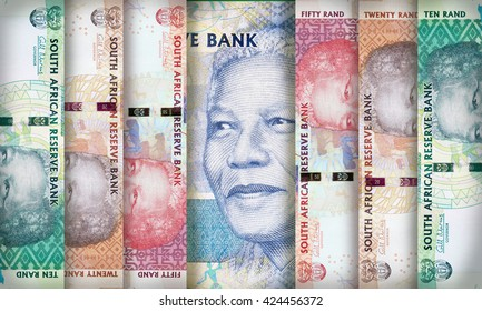 South African Rand bills creating a colorful background