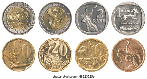south african rands coins collection set isolated on white background - Shutterstock ID 493233256