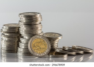 south african silver minted coins in a pile with fallen currency against a white background