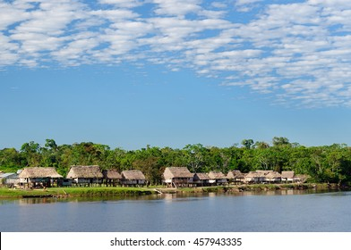 South America, Amazonas landscape. Typical indian tribes on the river bank the Amazons