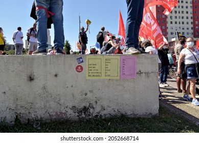 South America, Brazil – July 24, 2021: Demonstrators in downtown Rio de Janeiro joined marchers across Brazil calling for the impeachment of Brazilian far-right president Jair Bolsonaro