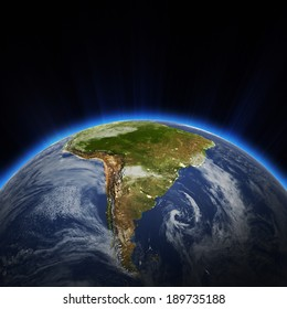 South America city lights at night. Elements of this image furnished by NASA