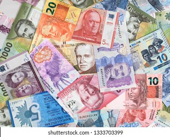 South America currency notes. South American money, trade, economy, market.