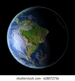 South America during evening light from Earth's orbit in space. 3D illustration with detailed planet surface. Elements of this image furnished by NASA.