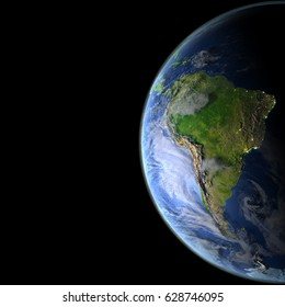 South America from Earth's orbit. 3D illustration with detailed planet surface, atmosphere and city lights. Elements of this image furnished by NASA.