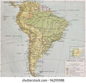 South America at the end of 19th century. By Paul Vidal de Lablache, Atlas Classique, Librerie Colin, Paris