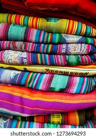 South America Indian woven fabrics. Colorful handmade native blankets. South America