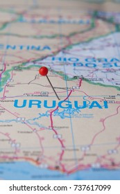 South America Map close up. Uruguay pinned on a map of Brazil.