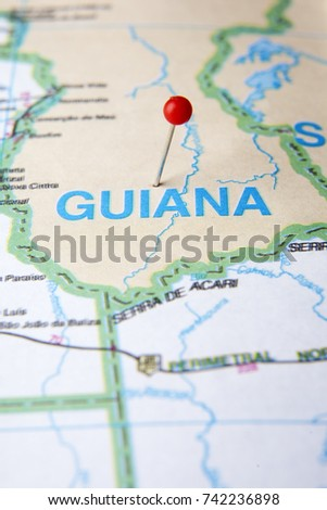South America Map Close Up Guiana Stock Photo Edit Now 742236898