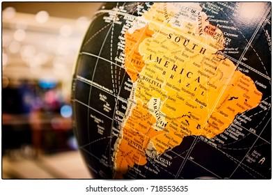 South America Map on a Vintage Globe
