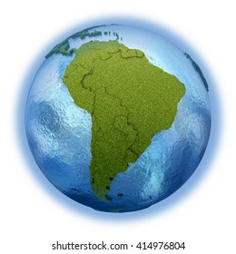 South America on 3D model of planet Earth with grassy continents with embossed countries and blue ocean. 3D illustration isolated on white background.
