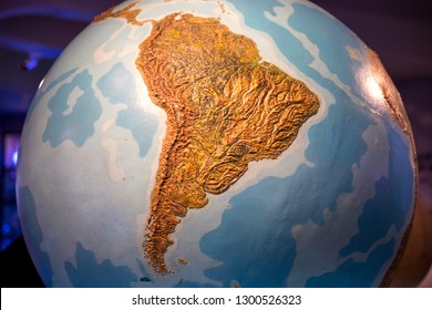 South America on blue globe of planet Earth Highly detailed planet surface