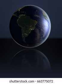 South America on dark globe with visible city lights on dark reflective surface. 3D illustration. Elements of this image furnished by NASA.