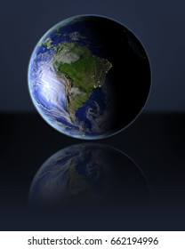 South America on full globe with dark background. 3D illustration with detailed planet surface, atmosphere and illuminated cities. Elements of this image furnished by NASA.