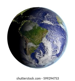 South America on model of Earth. 3D illustration with realistic planet surface isolated on white background. Elements of this image furnished by NASA.