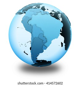 South America on translucent model of planet Earth with visible continents blue shaded countries. 3D illustration isolated on white background with shadow.