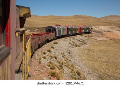 South America, Peru, tourist train high in Andes Mountains above Lima.