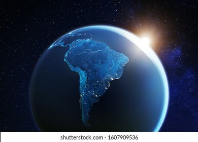 South America viewed from space with sunrise on planet Earth and stars, overview of Amazon river and forest, night lights from cities in Brazil, Argentina, Chile, Peru, map elements from NASA, 8k