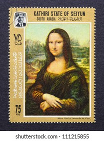 SOUTH ARABIA - CIRCA 1970: a postage stamp printed in Germany showing an image of Mona Lisa or La Gioconda by Leonardo Da Vinci, circa 1970.