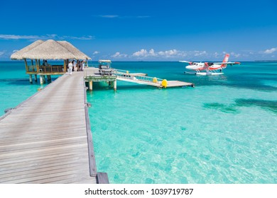 South Ari Atoll, Dhidhoofinolhu, Maldives - December 15 2015: Hydroplane in the crystal clear turquoise water of the Indian Ocean near tropical islands