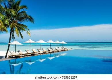 South Ari Atoll, Maldives - 12 July 2017: Large infinity pool on the shores of the Indian Ocean with sunbeds and umbrellas in the shade of the palm trees, Maldives island, 12 July 2017