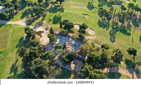 South Athens riviera, Attica / Greece - April 02 2019: Aerial drone photo of famous public golf course in Glyfada area next to abandoned Elliniko airport