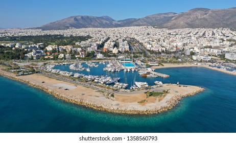 South Attica / Greece - April 02 2019: Aerial drone photo of famous Marina of Glyfada suburb
