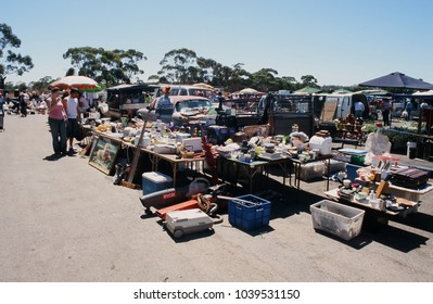 South Australia, Australia - Circa 2000s: The Trash and Treasure market in Gepps Cross features a large number of stalls selling second hand and brand new goods.