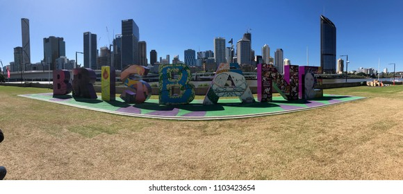 SOUTH BANK PARKLANDS, BRISBANE, AUSTRALIA - 12 MAY 2018 - BRISBANE sign was commissioned by the Queensland Government for the G20 Leaders' Summit in November 2014.