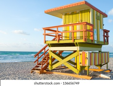 South Beach 8th street Lifeguard Tower.  Early morning pic of lifeguard station across from 8th street and Ocean Drive at South Beach, Miami Florida