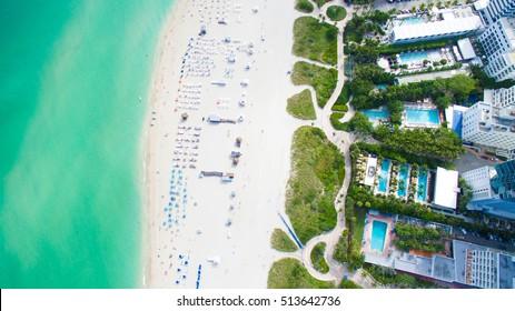 South Beach, Miami Beach. Florida. Aerial view. Tropical Paradise.