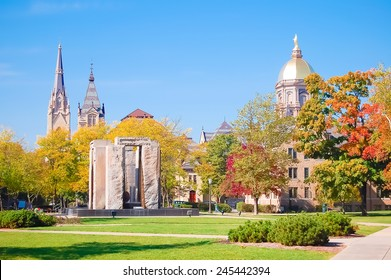 South Bend, Indiana - October 11, 2008:  Beautiful view of the central campus of the University of Notre Dame