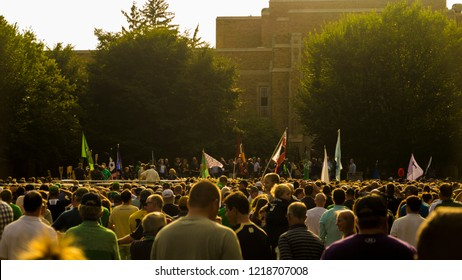 South Bend, Indiana / USA - October 26 2018: Large Crowd Gathers On Notre Dame Campus For Fighting Irish Pep Rally