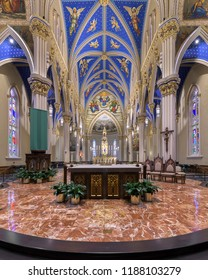 SOUTH BEND, INDIANA/USA - AUGUST 8,2018: Altar and sanctuary inside the Basilica of the Sacred Heart at 101 Basilica Drive on the campus of the University of Notre Dame in South Bend