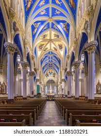 SOUTH BEND, INDIANA/USA - AUGUST 8,2018: Interior of the Basilica of the Sacred Heart at 101 Basilica Drive on the campus of the University of Notre Dame in South Bend