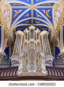 SOUTH BEND, INDIANA/USA - AUGUST 8,2018: Pipe organ inside the Basilica of the Sacred Heart at 101 Basilica Drive on the campus of the University of Notre Dame in South Bend